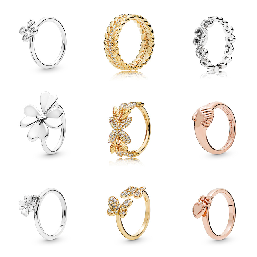 1 Pcs Women 925 Sterling Silver Rings Gold Rose Flower Clover Crystal Ring For Wedding Jewelry Gift 5/6/7/8/9 Size