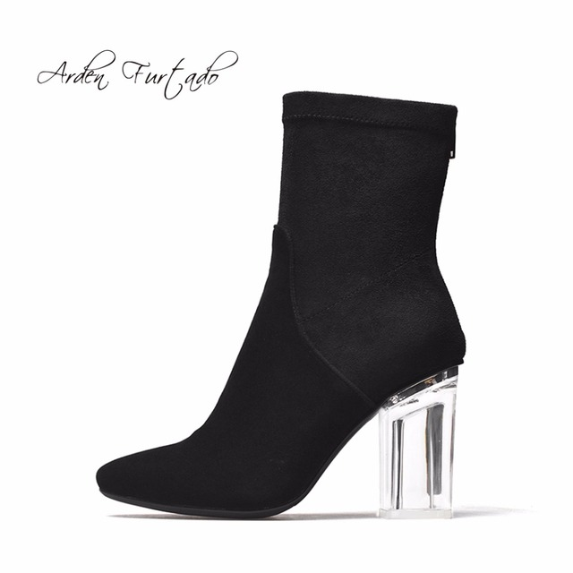 75e96a39bc59d7 Arden Furtado new style 2017 spring autumn winter clear crystal high heels  7cm fashion boots shoes for woman ankle boots women
