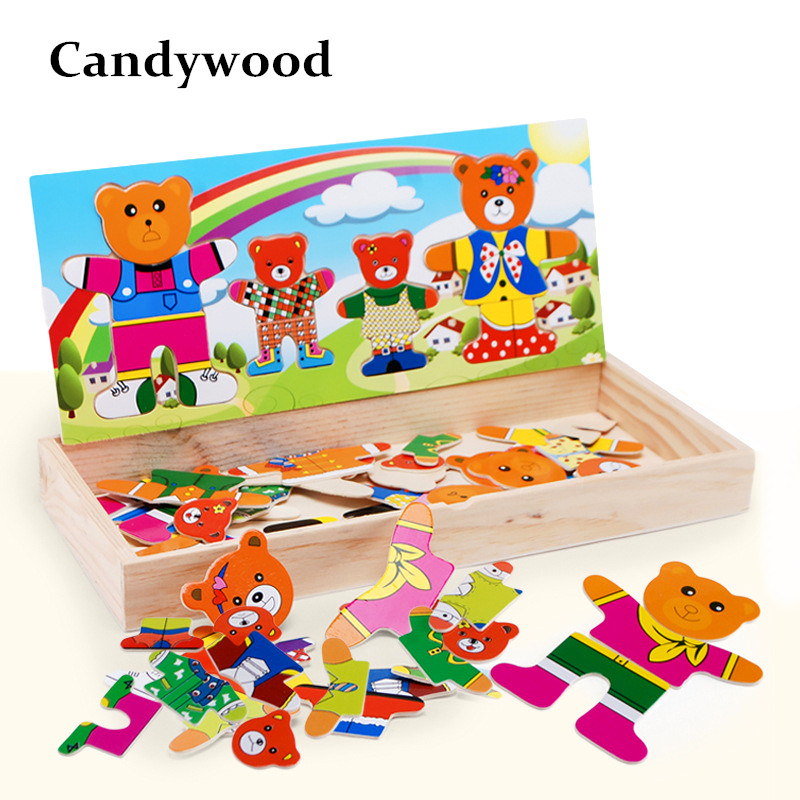 Candywood Cartoon Bear Change Clothes Colorful B Wooden Toys Puzzles Educational Dress Changing Jigsaw Puzzle Toy for Children цена