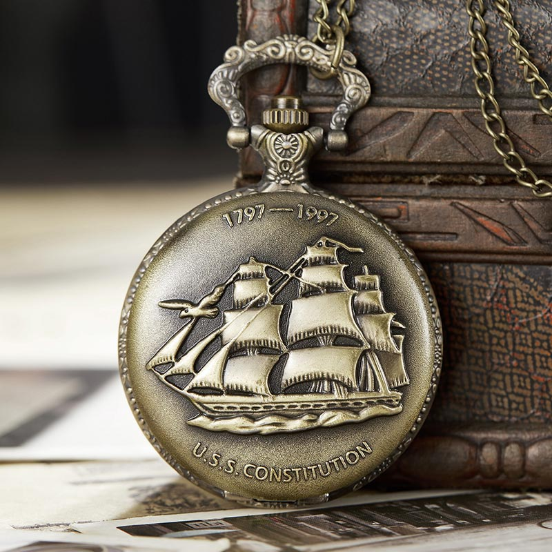 Vintage U.S.S.CONSTITUTION Fullmetal Alchemist Quartz Pocket Watch Men Women Sailboat Necklace Chain Steampunk Retro Clock
