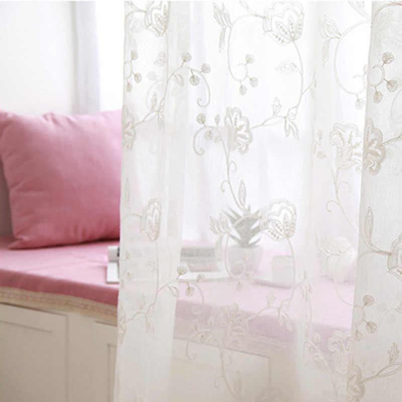 Деревенский стиль вышивка цветок готовая органза вуаль тюль ткань шторы белые шторы для гостиной спальни WP144D