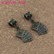 100pcs/lot Dangle Ancient bronze Playing cards Charm Big Hole Beads Fit European Bracelet Jewelry 13x36mm A-332a