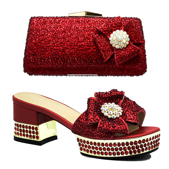 New Italian Shoes with Matching Bags Shoes and Bags To Match Matching Shoes and Bag Set for Wedding Rhinestone Women Party Pumps