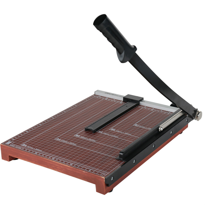 DELI Manual Paper Cutter Wooden Paper Cutting Machine Multifunctional Office Photo Paper Cutting Machine Office Cutting Supplies