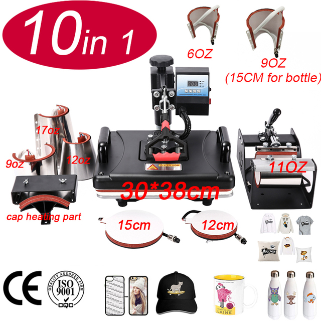 10 In 1 Heat Press Machine,Sublimation Printer/Heat Transfer Machine,Heat Press For Mug/Cap/T shirt/Phone case/bottle