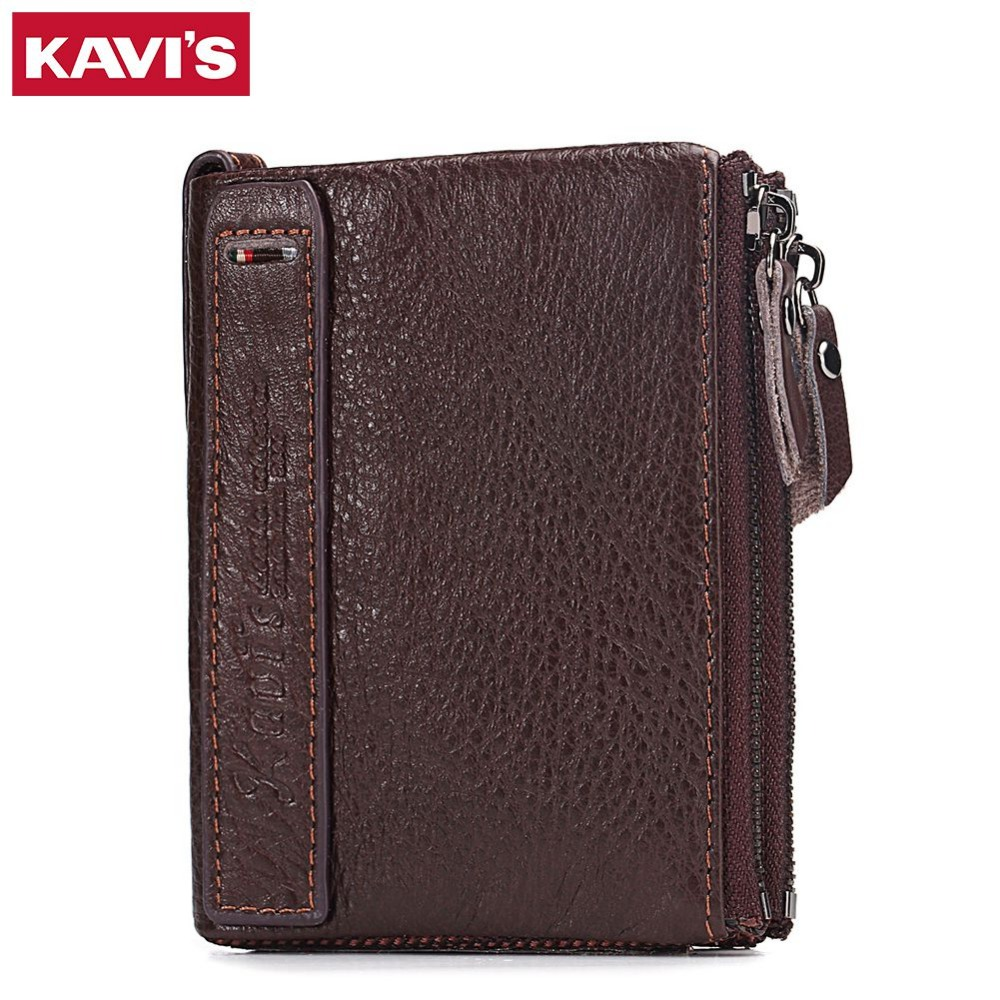 KAVIS Brand Leather Men Wallets Top Quality Genuine Leather Coffee Walet Men Card Holder Wallet Men with Zippers Coin Pocket