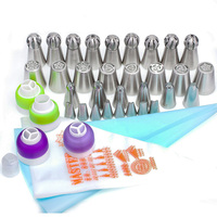 50Pcs Cake Nozzles Set Russian Tulip Nozzle Bakeware Icing Piping Tips Baking Pastry Cake Decorating Tools Silicone Pastry Bag