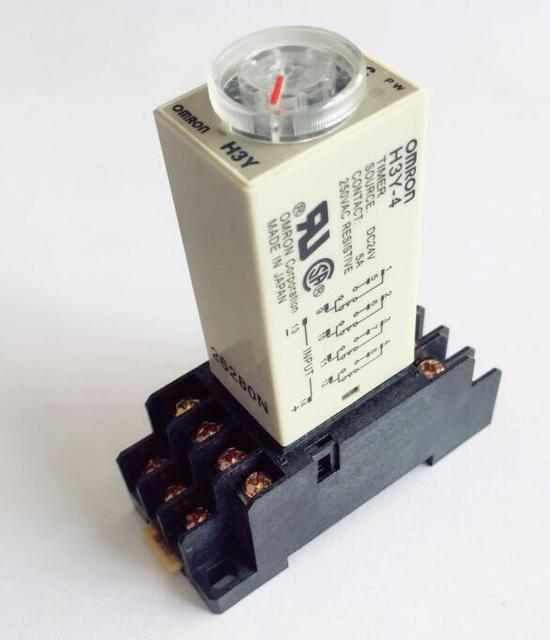 DC12V DC24V AC110V AC220V Time relay H3Y-4 Electronic delay time relay with Base 4PDT 14 PIN 1S 5S 10S 30S 60S 180S