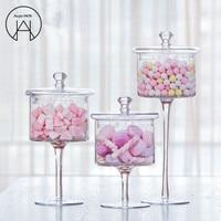 European high grade glass candy jar transparent cover Storage bottle dust proof glass cake dessert plate Wedding decoration
