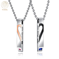 2018 Couples Jewelry Broken Heart CZ Necklace Couple Necklace Stainless Steel Engrave Her King Her Queen