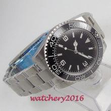 39mm Bliger Black Sterile Dial Luminous ceramic Bezel Automatic Movement mens Wristwatch