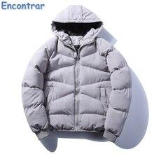 Encontrar Winter Parka Men Warm Coat Cotton-Padded Outwear Mens Coats Hooded Collar Slim Fit Thick Parkas Plus Size 5XL,QA384