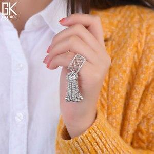 Image 3 - GODKI anneaux de luxe pour femmes, bijoux de mariage, avec glands, pour femmes, déclaration de fiançailles, pivoine cubique, dubaï