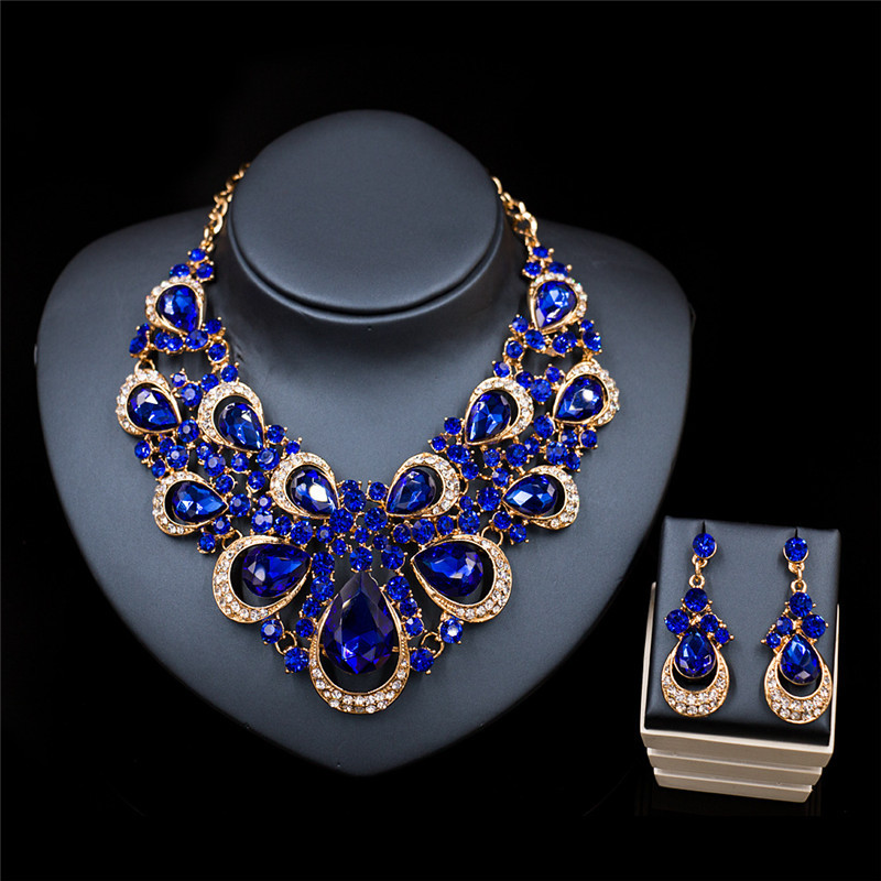 2017 high quality multicolour crystal jewelry sets african