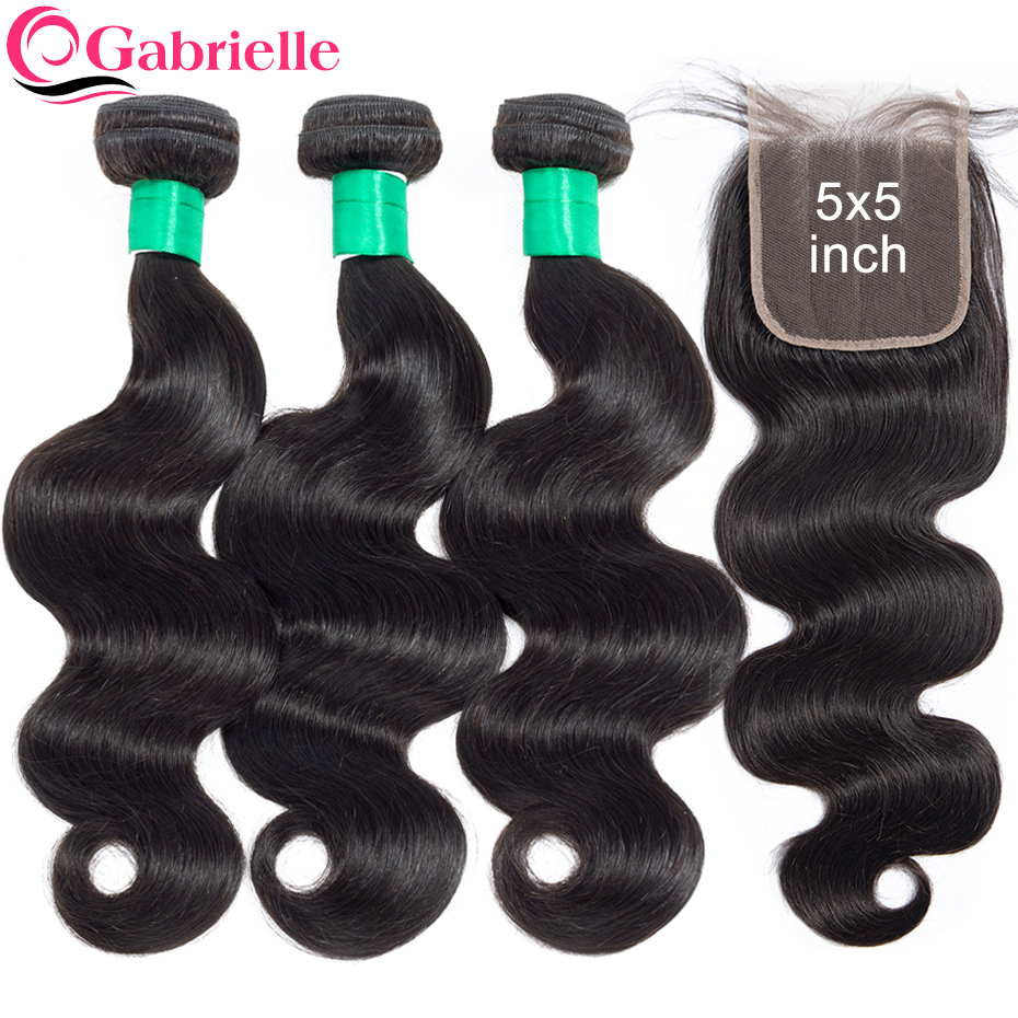 Gabrielle Hair Brazilian Body Wave Bundles with 5x5 Closure Free Middle Three Part Natural Color 100