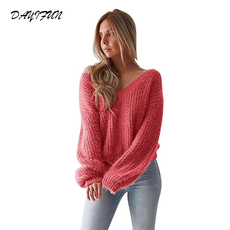 2019 sweater female pullovers backless v neck knitted sweater women autumn woman sweaters ladies jumper top knitwear C360 in Pullovers from Women 39 s Clothing