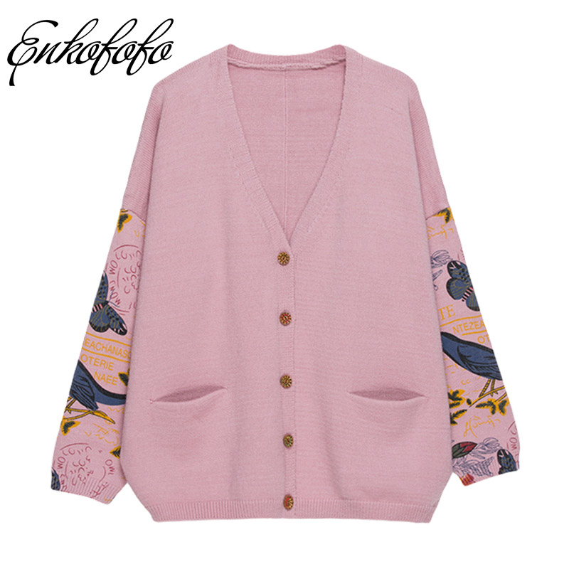 Knitted Cardigan Women 2018 Spring Autumn Print Batwing Long Sleeve V-Neck Sweater Cardigans Female Single Button Pull Coat