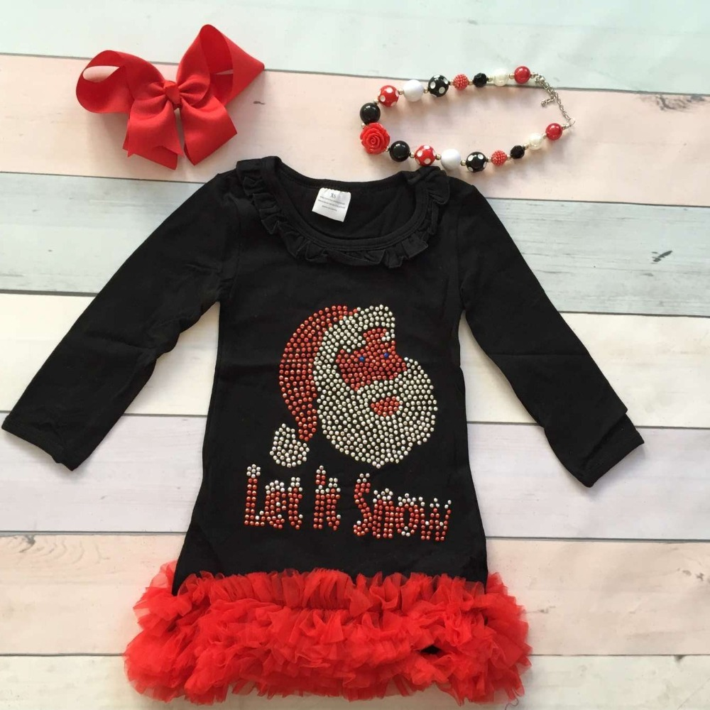 Christmas dress boutiques - Black Friday Baby Girls Christmas Dress Girls Santa Let It Snow Dress Children Boutique Party Boutique Dress With Matching Headband And Bows
