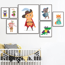 Cartoon Koala Rabbit Fox Bear Panda Superhero Wall Art Canvas Painting Nordic Posters And Prints Pictures Kids Room Decor