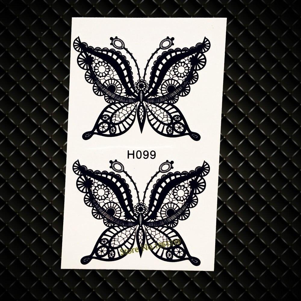 Caliente de Encaje de Mariposa Tatuaje Temporal de Henna Tatuaje Mujeres Sexy Ta