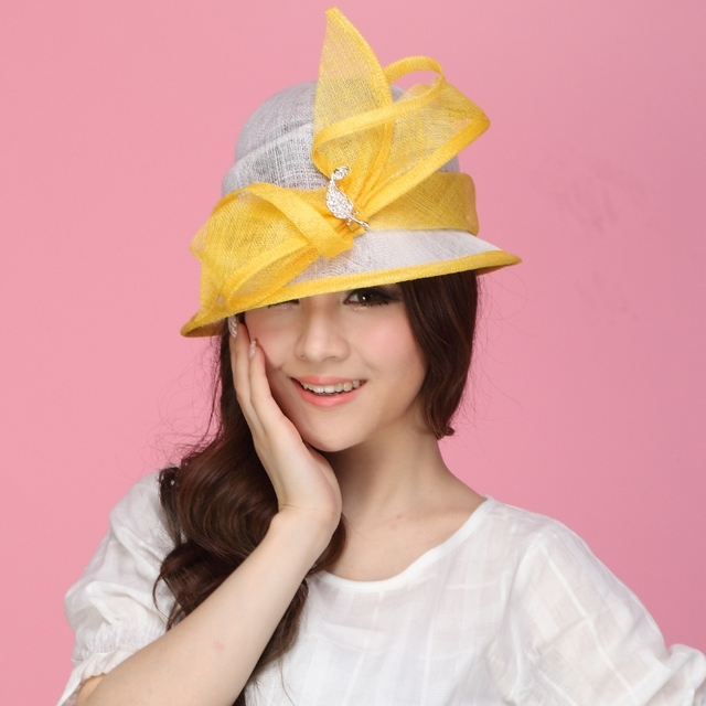 c6f1ea203b824 Women Dress Sinamay Derby Church Wedding Cocktail Evening Party Vintage Sun  Cap French Style Fedora Visors