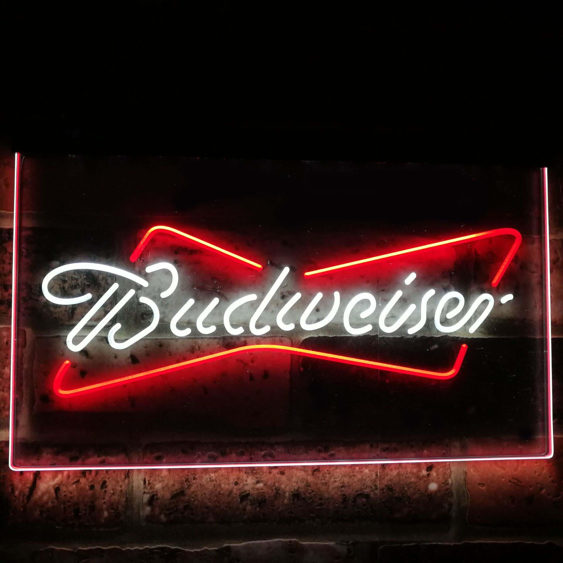 Budweiser classique Bar à bière décoration cadeau double couleur Led néon signes st6-a2009