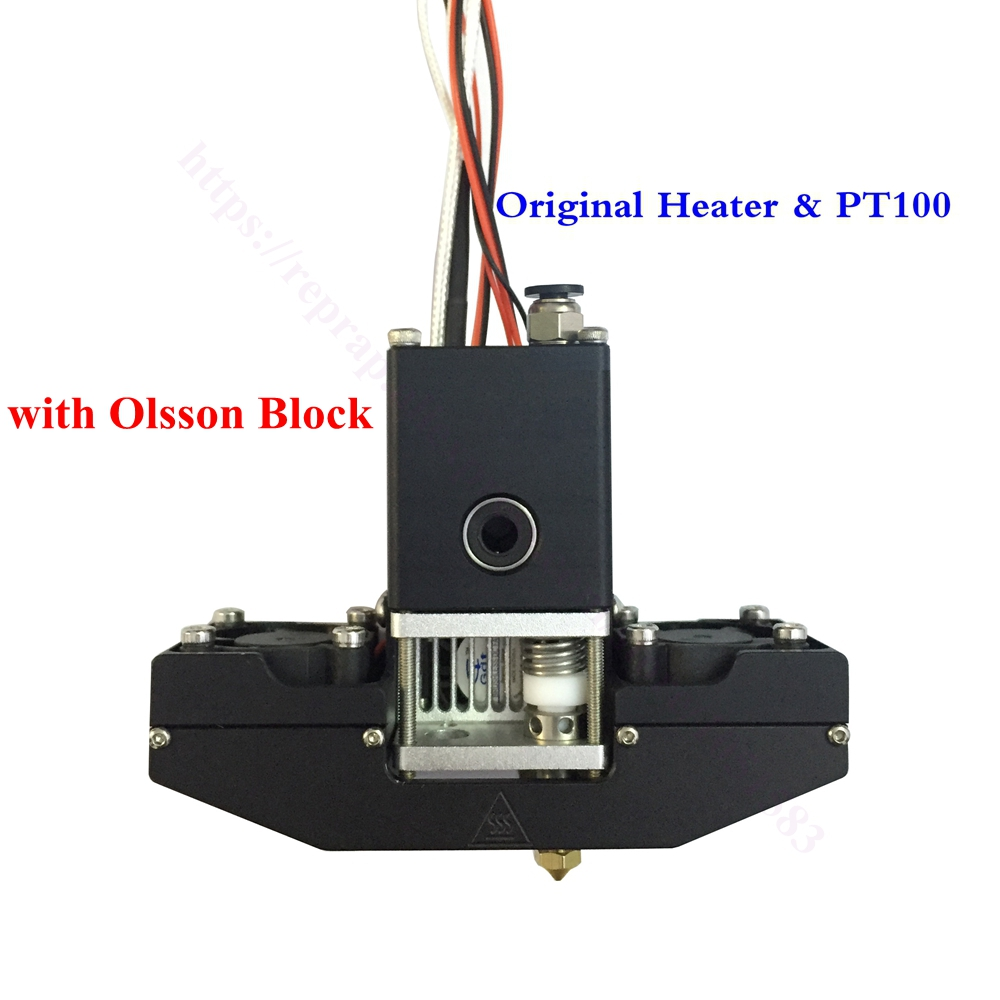 Upgrade! Ultimaker 3 Ultimaker 2+ Extended Olsson Block extruder w/ Aluminum Cross slider & Fan, Ultimaker 2 3D printer Hot End wholesale 3d printer um2 aluminum extruder for ultimaker 2 hot end kit 0 4mm nozzle free shipping