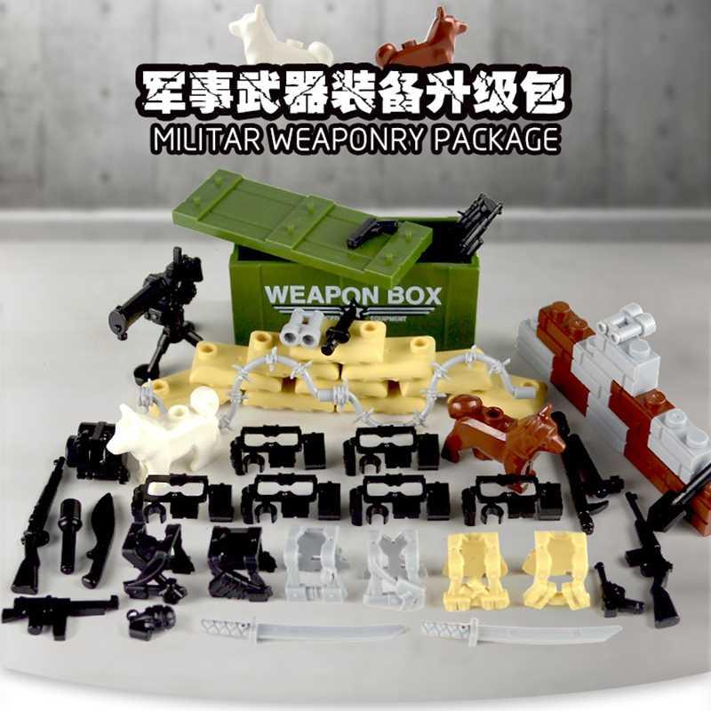Bloqueo de bloques militar bolso de arma cuerpo armadura armas policía perro Juguetes de bloques de construcción para niños montar bloque SWAT ejército