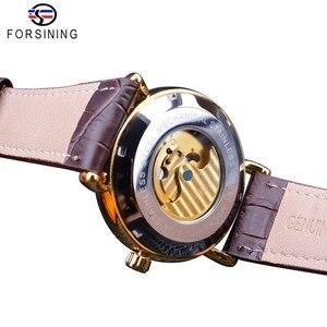 Image 4 - Forsining Luxus Weiß Gold Display Braun Leder Mondphase Mode Blau Hand Skeleton Wasserdicht Männer Automatische Mechanische Uhr