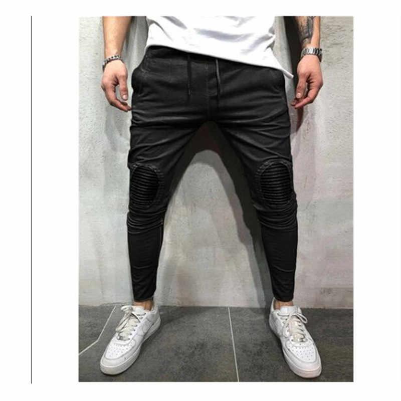Новые осенние мужские облегающие брюки, спортивный костюм, брюки в полоску, обтягивающие джоггеры, длинные спортивные штаны, повседневные штаны