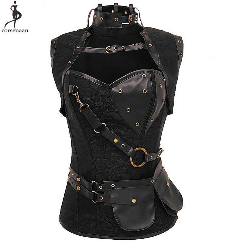 Steampunk Jacket   Corset   Women   Corsets   Steel Boned Solid Black Brown Silver   Bustier   Gothic Gorset Plus Size 6XL Steam Punk Korse