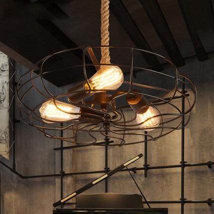 loft edison light fixtures vintage fan pendant lamp creative iron industrial style pendant lighting bar cafe