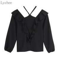 Lychee Sexy Gothic Women Blouse Halter Ruffle V Neck Lantern Sleeve Casual Chiffon Shirt Spring Autumn