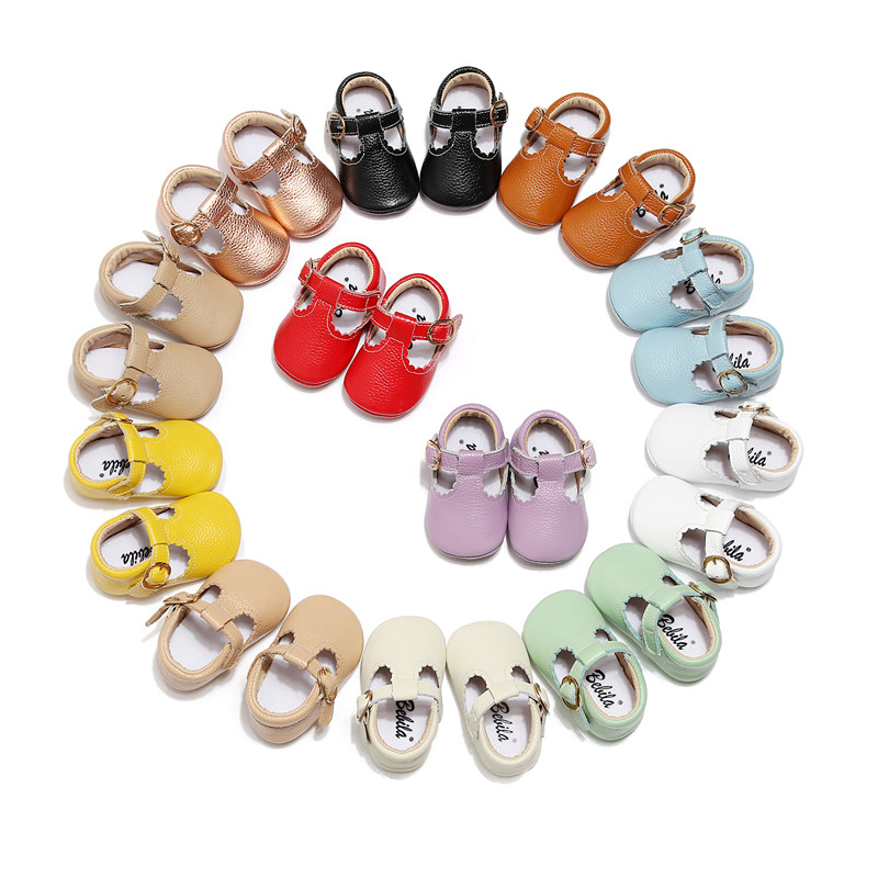 Genuine Leather Soft Sole Baby Girls Shoes T-bar Mary Jane Pure Infants Toddler Baby Princess Ballet Shoes Newborn Crib Shoes