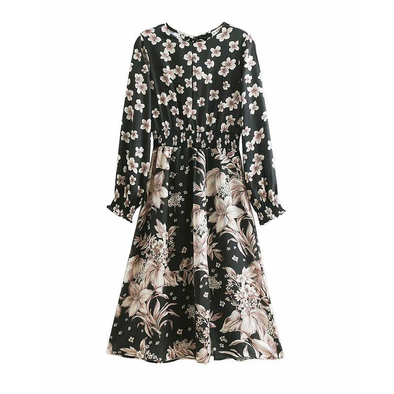 a3c2348b2ecc6 JuneLove Women Spring Long Sleeve Sexy Midi Dress Vintage Print Floral  Female Split Dress Retro Casual Lady Elastic Waist Dress