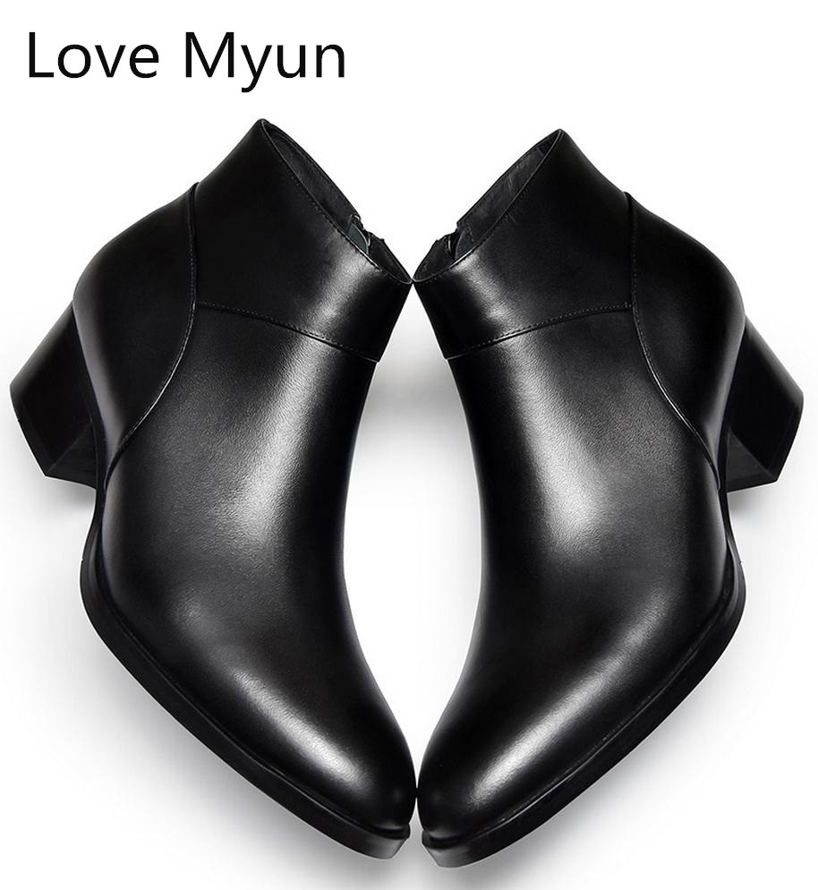 Mode Cheville Homme De Talons black Bottes Travail Véritable Mens Casual Zip Hiver Automne En Black Carrière Top Chaussures Haute New Cuir Hommes OiuPZkXwT