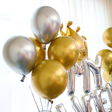 10PCS 12inch Silver Gold Metallic Latex Balloons Pearly Metal Balloon Gold Colors Globos Wedding Birthday Party Supplies Balloon