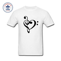 2017 Hot Selling Funny Music Notes Love Heart Funny Cotton T Shirt For Men