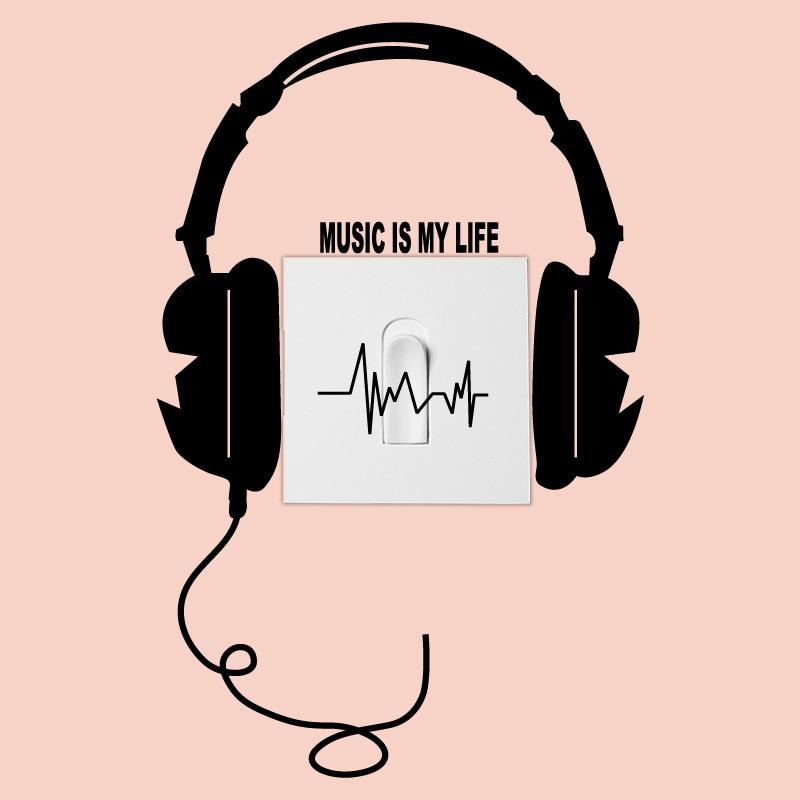 MUSIC IS MY LIFE Headphones Wall/Switch Sticker vinyl living room ...