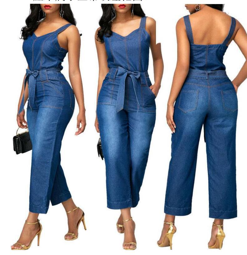 Fengguilai 2019 Summer New Arrival Casual Women Denim   Jumpsuits   Color Solid Spaghetti Strap Ladies Rompers SY-7019