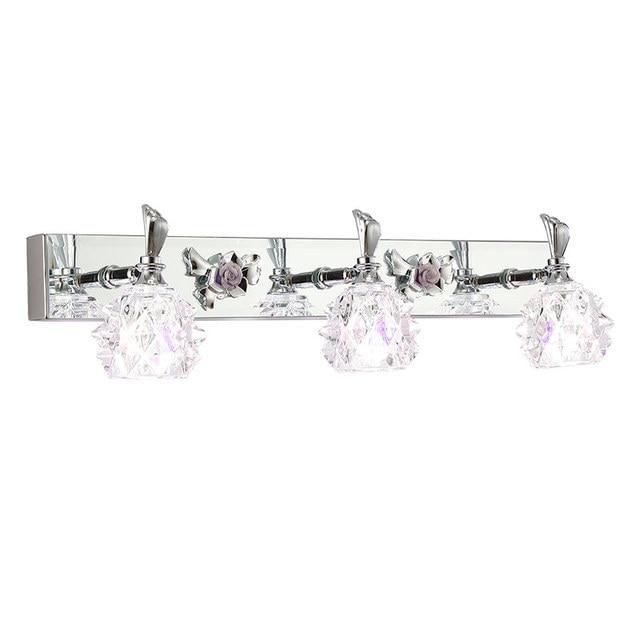 modern crystal washroom wall light chrome contemporary