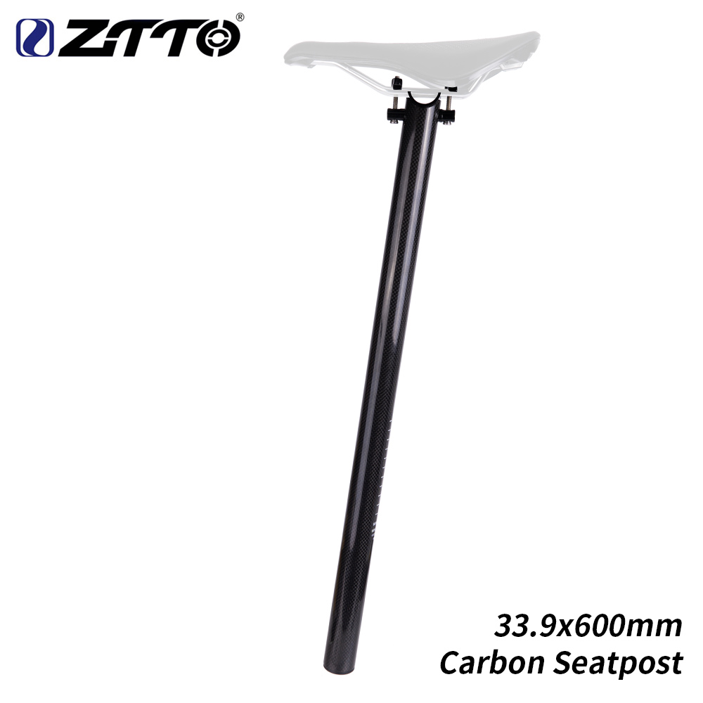 ZTTO Carbon Fiber Bicycle Seat Post Tube 226g 33 9 600mm Superlight Cycling BMX Folding Bike