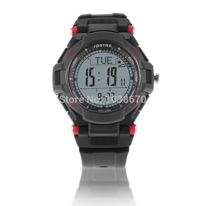 2017 Spovan RED/YELLOW Multifunction Digital Sports Compass Watch /Barometer Pacer Altimeter Monitor Running Cycling Wristwatch  цены