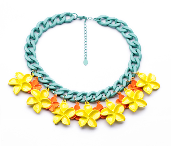 2017 New Style of Different Colors Women Cute Flower Shiny Gold Color Choker Necklace