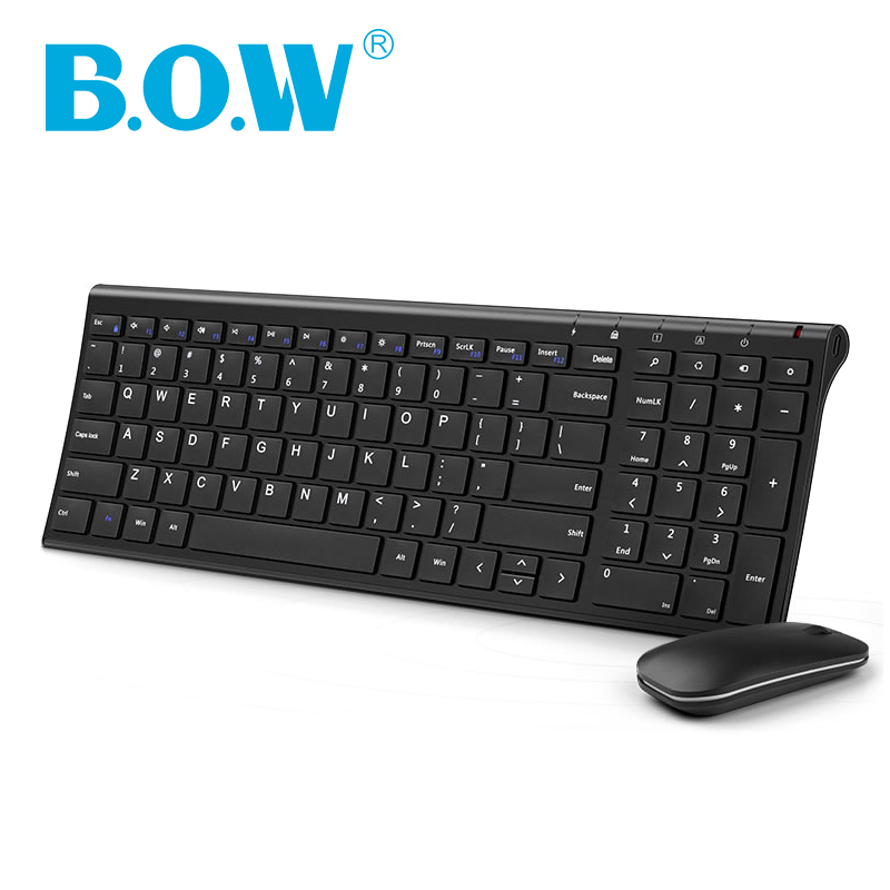 B.O.W Slim Metal Multimedia Tastatură wireless optică și Moue (design silențios) Combo-uri 2 în 1 pentru notebook-uri Desktopuri Calculator PC