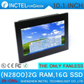 fanless touchscreen all in one pc with HDMI 2 COM Black color 10.1 inch N2800 1.86Ghz CPU 2G RAM 16G SSD