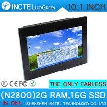 Безвентиляторный сенсорный все в одном пк с HDMI 2 COM черный цвет 10.1 дюймов N2800 1.86 ГГц ПРОЦЕССОРА 2 Г RAM 16 Г SSD