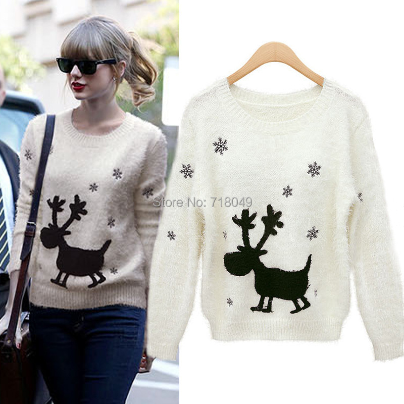 Women Sweater Reindeer Deer Knitted 2017 New Christmas Gift ...