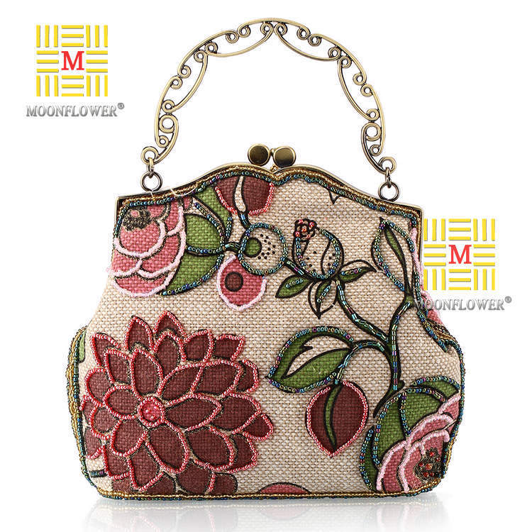 ФОТО A string of beads embroidered linen package retro handbag old Shanghai conference 7214 small cheongsam perfect messenger bag