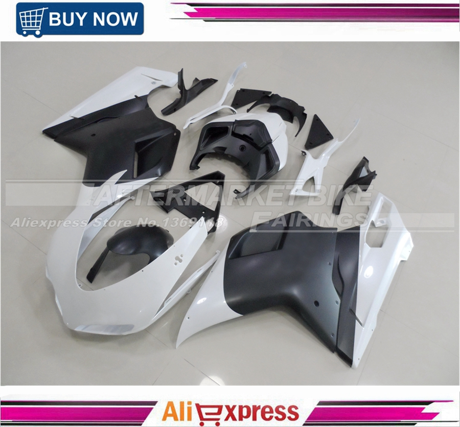 ABS Motorbike Fairing Kit For Ducati 1098 848 1198 Pearl White And Matte Black 2007-2011